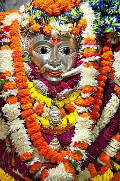 India, Uttar Pradesh, Varanasi, Kal Bhairava temple, Silver idol of Kal Bhairava.