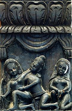 India, Uttar Pradesh, Varanasi, Lalita Ghat, Nepali temple (also called Kathwala temple), Erotic sculptures.
