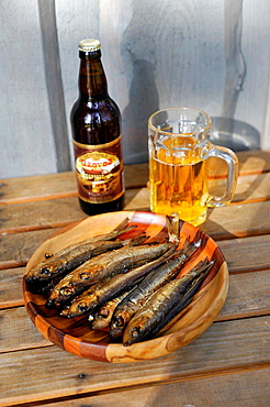 herrings and local beer, Kemeri, Jurmala, Gulf of Riga, Latvia, Baltic region, Northern Europe.