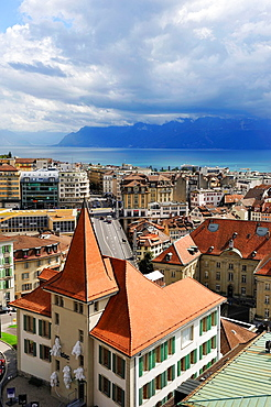 overview from the tower of the Cathedral of Notre Dame, Lausanne, Canton of Vaud, Switzerland, Europe.
