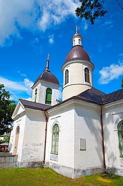 Apostolik Oigeusu Nikolai kirk the St Nicholas Orthodox church Kuressaare town Saaremaa island Estonia northern Europe.