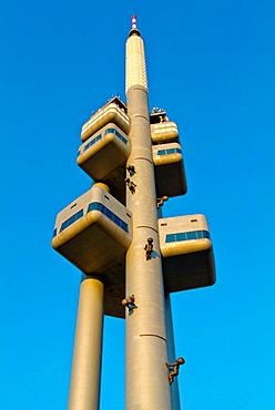 Zizkovska Vez the Zizkov Television Tower (1992) Mahlerovy sady park Zizkov district Prague Czech Republic Europe.