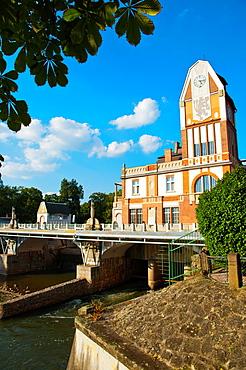 Jez Huaça°k the Art nouveau style hydroelectric power station (1912) on the bank of River Elbe central Hradec Kralove city Czech Republic Europe.