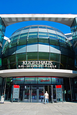 Kugelhaus shopping centre Wiener Platz square Dresden city Saxony state eastern Germany central Europe.