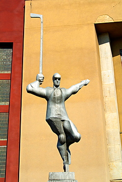 Hokejista the hockey player sculpture (1985) by Zdenek Nemecek in front of ice hockey arena at Vystaviste Holesovice district Prague Czech Republic Europe.