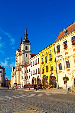 Masarykovo namesti main square with Sv Ignac church old town Jihlava city Vysocina region Moravia central Czech Republic Europe.