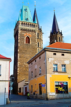 Kolin old town with Zvonice tower and Sv Bartolomej church Central Bohemian region Czech Republic Europe.