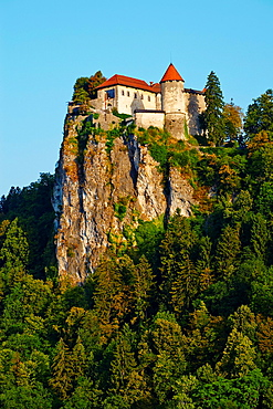Slovenia, Bled, Lake Bled and Julian Alps, the Bled Castle.