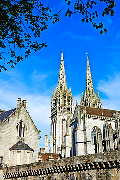 France, Briitany, Finistere, Quimper, St Corentin cathedral.