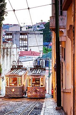 The Gloria Funicular, Lisbon, Portugal, Europe.