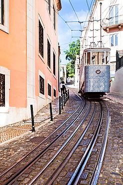 The Gloria Funicular, Lisobn, Portugal, Europe.