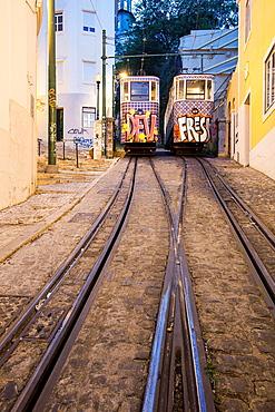 The Lavra Funicular, Lisbon, Portugal, Europe.