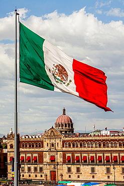 National Palace, Palacio Nacional, in Plaza de la Constitucion, El Zocalo, Zocalo Square, Mexico City, Mexico.