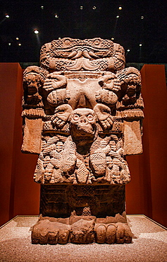 Coatlicue mother goddess or 'Doce canas', National Museum of Anthropology. Mexico City. Mexico.