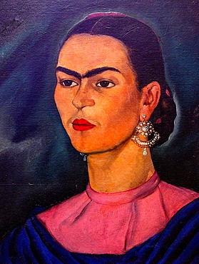 Frida Kahlo museum, portrait of Frida Kahlo, by Roberto Montenegro, Coyoacan, Mexico City, Mexico.
