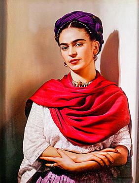 Frida Kahlo museum, portrait of Frida Kahlo, Coyoacan, Mexico City, Mexico.