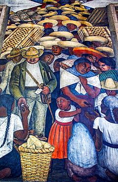 The Market by Diego Rivera, at SEP (Secretaria de Educacion Publica),Secretariat of Public Education, Mexico City, Mexico.