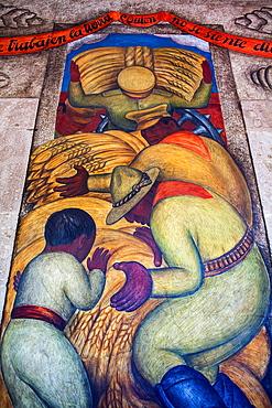 The threshing floor by Diego Rivera, at SEP (Secretaria de Educacion Publica),Secretariat of Public Education, Mexico City, Mexico.