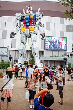 Gundam robot in Diver City Tokyo Plaza, in Odaiba (artificial island).Tokyo city, Japan, Asia.