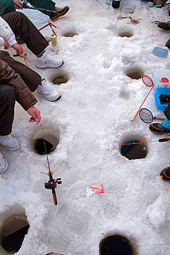 Ice fishing,Abasiri lake,Abashiri, Hokkaido, Japan.