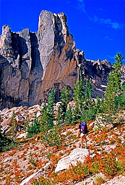 hiking in to climb The Grand Aiguille high in the Sawtooth Mountains in central Idaho.