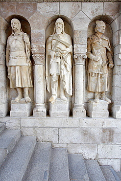 Statues at Fisherman's Bastions, Budapest, Hungary.