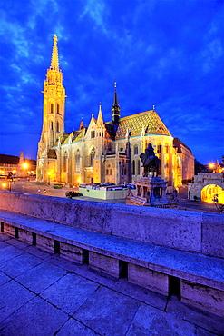 Matthias Church at dusk, Budapest, Hungary.