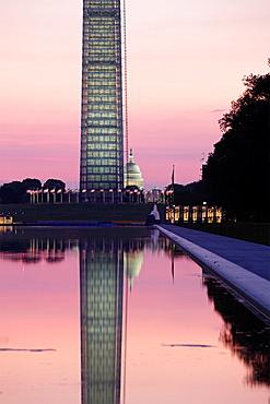 The obelisk or Washington Monument at sunrise, Washington D.C.,USA.