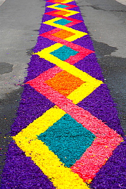 Flower carpets made from artificially colored wood shavings. Sao Miguel, Azores islands, Portugal.