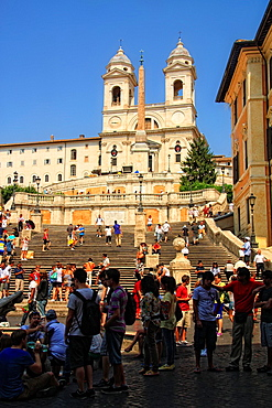 Spanish Steps and church of Trinita dei Monti in Rome Italy.