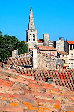 Roof top of Arles city, Bouches du Rhone, Provence-Alpes-Cote d'Azur, France