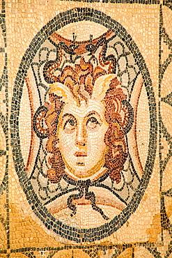 Mosaic of Medusa on the floor of one of the terrace houses, Ephesus, Turkey.