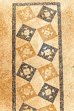 Patterned mosaic on the floor of one of the terrace houses, Ephesus, Turkey.