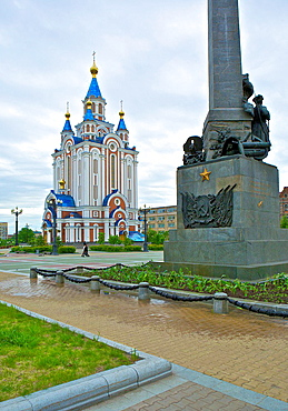 Komsomolskaya Plaza Memorial to the Far East Workers and Newly Constructed Orthodox Church, Khram Uspenya Bozhey Materi. Khabarovsk. Russia