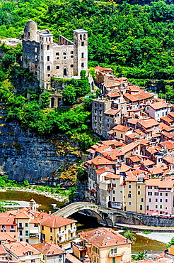 Europe, Italy, Liguria, Dolceacqua. The village and the ruins of the castle of the Doria, dating partly from the twelfth century.