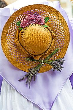 Europe, France, Alpes-de-Haute-Provence, 04, Regional Natural Park of Verdon, Valensole. Provencal lavender festival. Traditional costume lavender. Detail.