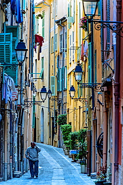 Europe, France, Alpes-Maritimes, Menton. A typical alley.