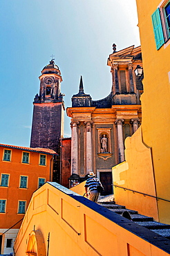 Europe, France, Alpes-Maritimes, Menton. Ascended to the parvis of white Penitents chapel and the Basilica of Saint Michel.