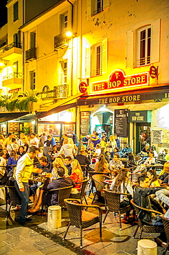 Europe, France, Alpes-Maritimes, Antibes. Old town at night.