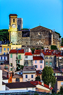 Europe, France, Alpes-Maritimes, Cannes. Suquet church at dusk.