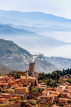 Europe, France, Alpes-Maritimes. La Turbie village.