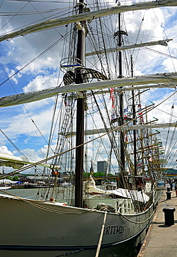 Armada 2013, cruise of biggest sailing vessels in the world on Seine river from Rouen to Atlantic Ocean, here Artemis, Duch three-masted barque from 1926 year moored in harbour in Rouen before start, Rouen, Seine-Maritime, Normandy, France, Europe.