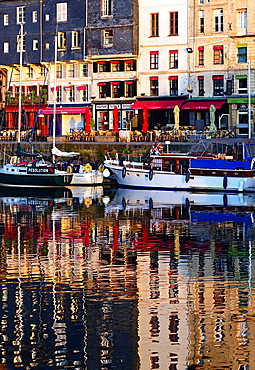Picturesque reflections of old residential houses and boats, Vieux Bassin, Honfleur, Calvados, Normandy, France