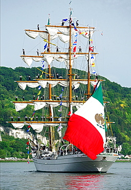 sailors on Cuauhtemoc, Mexican sailing vessel, three-masted barque, the crew, 109 sailors, Armada 2013, cruise of biggest sailing vessels in the world on Seine river from Rouen to Atlantic Ocean, Seine river, Seine-Maritime, France, Europe.