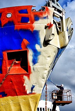 Painting of old fishing trawler, shipyard, Reykjavik, Iceland.