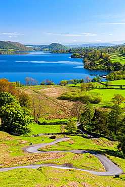 Ullswater from Martindale Road in the Lake District National Park, Howtown, Cumbria, England, UK, Europe.