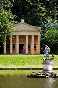 Studley Royal Gardens, water garden, for John Aislabie, 1718, River Skell, Temple of Piety, Moon Pond, statue of Neptune, North Yorkshire, UK