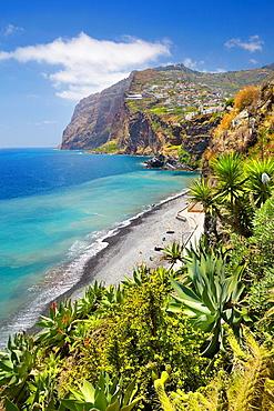 View at Cabo Girao (580 m highest) cliff, Camara de Lobos, Madeira, Portugal.