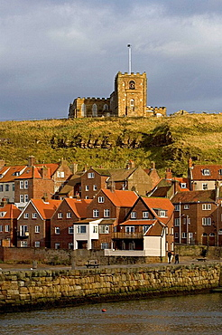 Whitby, parish church of St, Mary, Norman tower, 18th century, harbour, waterfront, quays, boats, North Yorkshire, UK