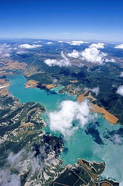 Aerial view of Yesa lake (Embalse de Yesa), Aragon, Spain.